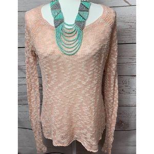 NWOT Roxy Light Pink & Cream Popcorn Sweater Med